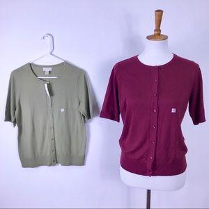 Loft Outlet set of Burgundy & Sage cardigan Size M